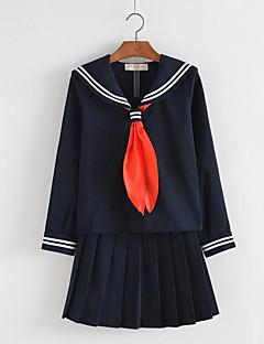 Cosplay Kostüme Schüler/Schuluniform Seefahrer Fest/Feiertage Halloween Kostüme Schwarz Tintenblau einfarbig Krawatte Top Rock Halloween