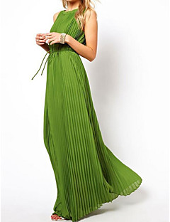 Women's Casual/Daily Simple Sheath Dress,Solid Strap Maxi Sleeveless Polyester Summer High Rise Micro-elastic Thin