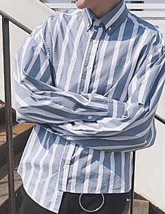 Pánské Proužky Běžné/Denní Jednoduché Košile-Jaro Léto Bavlna Košilový límec Dlouhý rukáv Tenké