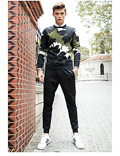 Masculino Padrão Pulôver,Casual Férias Tamanhos Grandes Simples Activo Punk & Góticas Jacquard Bordado camuflagem Decote RedondoManga