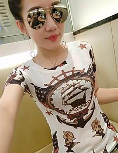 여성 솔리드 라운드 넥 짧은 소매 티셔츠,심플 캐쥬얼/데일리 면 여름 얇음