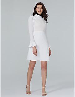 TS Couture מסיבת קוקטייל שמלה - גב פתוח מעטפת \ עמוד צווארון גבוה קצר \ מיני שיפון עם תחרה קפלים מדורגים