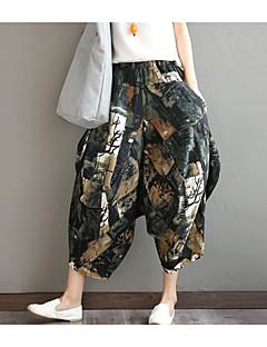 מכנסיים צ'ינו משוחרר גיזרה נמוכה אחיד דפוס פָּשׁוּט נשים