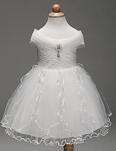 A-line קצר / מיני פרח ילדה שמלה - שיפון ללא שרוולים מחוץ לכתף עם פירוט קריסטל