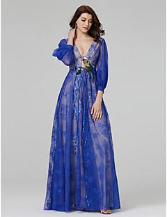 מעטפת \ עמוד צווארון וי עד הריצפה תחרה ערב רישמי שמלה עם חרוזים אפליקציות נצנצים על ידי TS Couture®