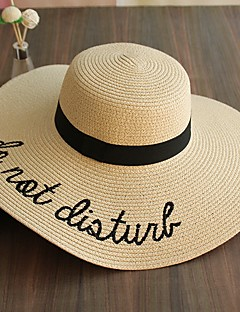 Women's Fashion Straw Hat Sun Hat Wide Brim Hat/Cap Cute Casual Letter Print Embroidery Beach Summer Beige/Khaki/Pink