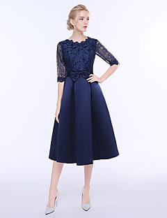 종아리 길이 쥬얼리 신부 들러리 드레스 반 소매 레이스