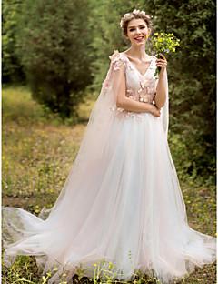 라인 웨딩 드레스 - 쉬크&모던 색상 웨딩 드레스 스윕 / 브러쉬 트레인 V-넥 레이스 튤 와 아플리케 꽃장식