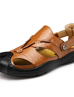 Men's Sandals Comfort Leather Cowhide Spring Summer Athletic Casual Outdoor Hiking Comfort Button Flat Heel Black Brown Khaki Flat
