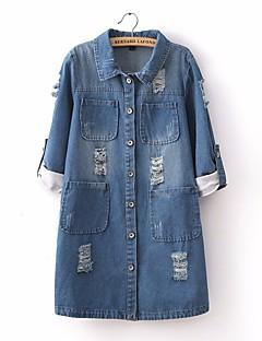 Damen Solide Einfach Lässig/Alltäglich Trench Coat,Rundhalsausschnitt Frühling Kurz Baumwolle
