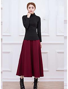 Damer Vintage I-byen-tøj Afslappet/Hverdag Ferie Maxi Nederdele A-linje Ensfarvet Vinter
