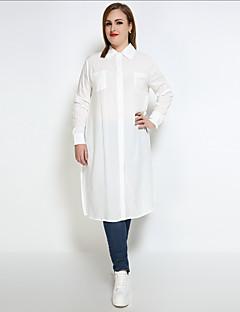 Feminino Camisa Social Casual Trabalho Tamanhos Grandes Sensual Simples Moda de Rua Todas as Estações,Sólido Algodão Colarinho de Camisa