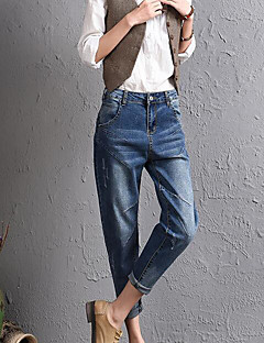 Dam Streetchic Mikroelastisk Jeans Byxor,Mellanhög midja Harem Enfärgad