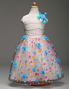 De Baile Longuette Vestido para Meninas das Flores - Renda Organza Cetim Decorado com Bijuteria com Laço(s) Flor(es) Estampa Faixa / Fita