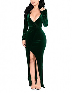 Women's Solid Deep V Plus Size Party Club Sexy Bodycon Long Sleeve Split Maxi Dress