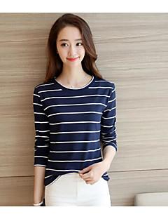 여성 줄무늬 라운드 넥 긴 소매 티셔츠,섹시 귀여운 데이트 면