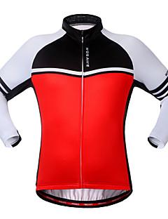 Cyklodres Unisex Dlouhé rukávy Jezdit na kole Mikina Dres Vrchní část oděvu Zahřívací Větruvzdorné Prodyšné Zadní kapsa 100% polyester