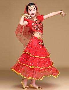 Czy taniec brzucha kostiumy dziecięce wykonanie chiffon spandex monety cekinów 5 sztuk kostium taneczny