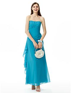 LAN TING BRIDE Floor-length Strapless Bridesmaid Dress Sleeveless Chiffon