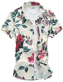 Bomull Rayon Tynn Kortermet,Skjortekrage Skjorte Stripet Blomstret Galakse Sommer Enkel Aktiv Fritid/hverdag Strand Herre