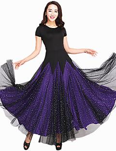Dança de Salão Vestidos Mulheres Actuação Elastano Tule Recortes 1 Peça Manga Curta Vestido