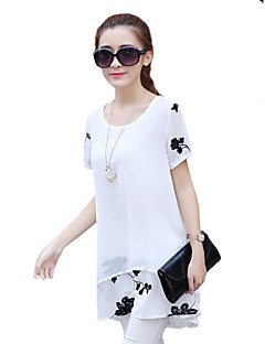Women's Going out Cute Summer Shirt,Print Round Neck Short Sleeve Polyester Translucent