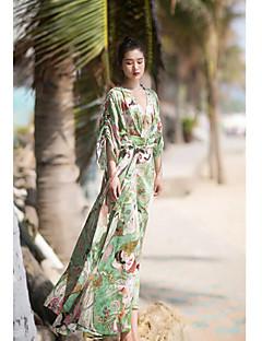 Kadın Kumsal Sade Çan Elbise Solid,Uzun Kollu V Yaka Maksi Akrilik Yaz Düşük Bel Mikro-Esnek Orta