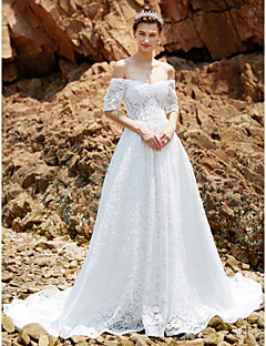 A-line Off-the-shoulder Chapel Train Lace Wedding Dress with Lace