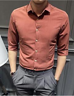 Pánské Jednobarevné kancelář a kariéra Jednoduché Košile Bavlna Košilový límec Dlouhý rukáv