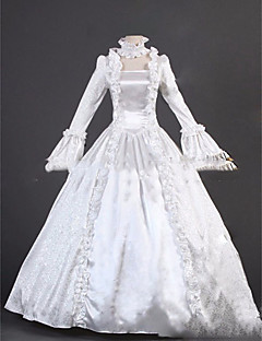 One-Piece/Dress Gothic Lolita Lolita Cosplay Lolita Dress White Vintage Cap Long Sleeves Floor-length Dress For Other