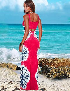 Feminino Tubinho Bainha Vestido,Casual Vintage Sólido Floral Decote em U Profundo Longo Manga Curta Algodão Verão Cintura Alta
