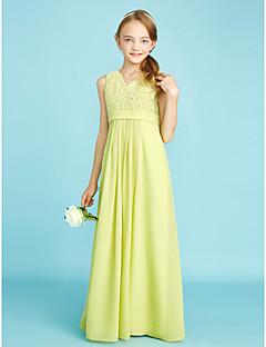LAN TING BRIDE עד הריצפה שיפון תחרה שמלה לשושבינות הצעירות  מעטפת \ עמוד צווארון וי טבעי עם תחרה סרט - כחול סקיי ירוק ליים כחול אוקיינוס