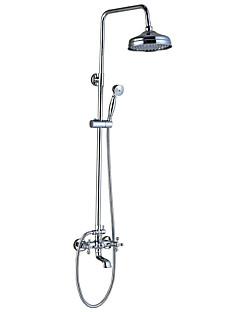 アンティーク調 伝統風 アールデコ調/レトロ風 バスタブとシャワー レインシャワー ワイドspary ハンドシャワーは含まれている with  セラミックバルブ 3つのハンドル二つの穴 for  クロム , シャワー水栓