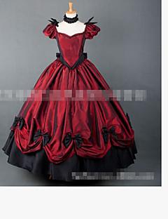 /שמלותחתיכה אחת לוליטה קלאסית ומסורתית ויקטוריאני Cosplay שמלות לוליטה אדום צבע אחיד אורך עד לרצפה חצאית קשת ל בד מרופד