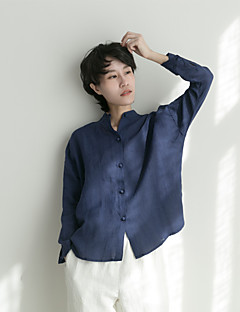 Mujer Vintage Simple Tejido Oriental Camisa,Escote Chino Un Color Manga Larga Lino