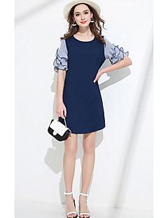 Damen Hülle Kleid-Lässig/Alltäglich Solide Rundhalsausschnitt Übers Knie Kurzarm Acryl Sommer Tiefe Hüfthöhe Unelastisch Mittel