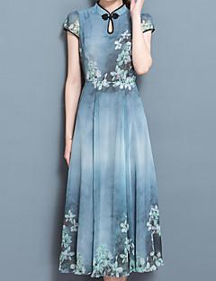 Dámské Vintage Čínské vzory Sofistikované Jdeme ven Běžné/Denní Pouzdro Šaty Tisk,Krátký rukáv Tričkový Midi Jiné Jaro Léto Mid Rise