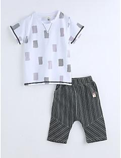 Jungen Sets Druck Geometrisch Baumwolle Sommer Kurzarm Kleidungs Set