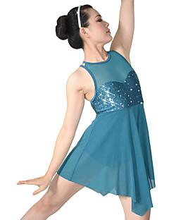 Balett Ruhák Női Gyermek Teljesítmény Nejlon Spandex Flitteres Lycra Redőzött Flitteres 2 darab Ujjatlan Természetes Ruha Fejdíszek