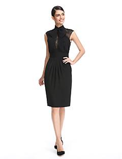 Gaine / colonne à col haut longueur genou mousseline de soie robe de soirée fête de bal à la dentelle par ts couture®