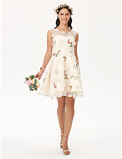 A-Line Jewel Neck Knee Length Organza Bridesmaid Dress with Flower(s)
