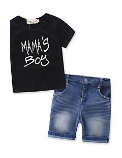 Jungen Sets Modisch Einheitliche Farbe Baumwolle Denim Sommer Kurze Hose Kleidungs Set