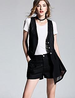Damen Solide Alltag T-Shirt-Ärmel Hose Anzüge,Rundhalsausschnitt Sommer Kurzarm