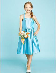 LAN TING BRIDE באורך  הברך טפטה שמלה לשושבינות הצעירות  גזרת A קולר טבעי עם סרט סיכה מקריסטל - כחול סקיי ירוק ליים כחול אוקיינוס כחול דיו