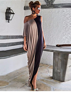Women's Going out Swing Dress,Solid Off Shoulder Maxi ¾ Sleeve Silk Summer High Rise Micro-elastic Thin