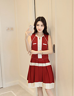 Kadın Dışarı Çıkma Günlük/Sade Sevimli Çan Elbise Zıt Renkli,Kolsuz Kare Yaka Diz üstü Polyester Bahar Yaz Normal Bel Mikro-Esnek Orta