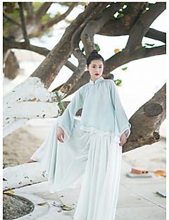 Dames Chinoiserie Overhemd,Vakantie Effen V-hals Lange mouw Acryl