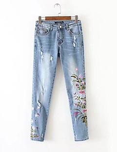 Women's High Waist Micro-elastic Jeans Pants,Simple Skinny Floral