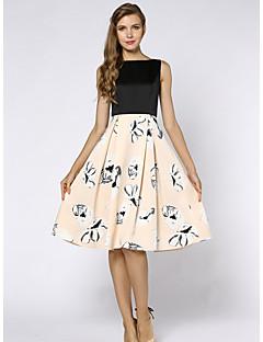 SHE'SWomen's Plus Size Work Vintage Sophisticated Swing DressFloral Round Neck Knee-length Sleeveless Polyester Summer High Rise Inelastic