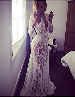 Для женщин Для вечеринок Секси Оболочка Платье Геометрический принт,V-образный вырез Макси Длинный рукав Хлопок Нейлон ВеснаС высокой